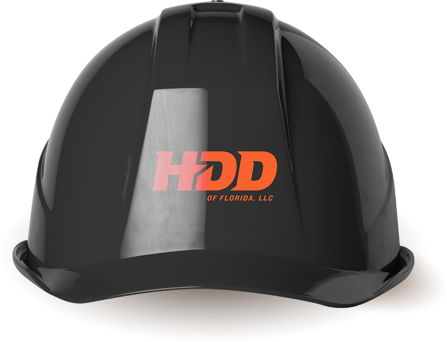 An image of a black hardhat with HDD of Florida, LLC written on it.